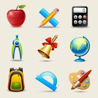 Realistic School Icons Set