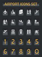 Conjunto de iconos de panel de información de aeropuerto
