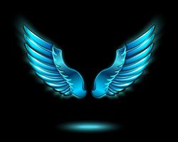 Blue glowing angel wings vector
