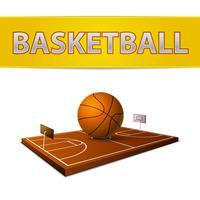 Basketball ball and field with rings emblem