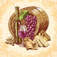 Emblema de vino y queso