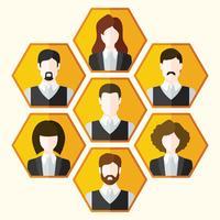 Conjunto de ícones de avatar de personagens masculinos e femininos