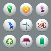 Schaltflächen für Energie und Ökologie