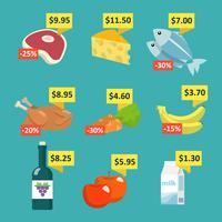 Alimento del supermercato con cartellini dei prezzi