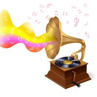 Music background with gramophone