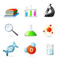 Ícones realistas de ciência
