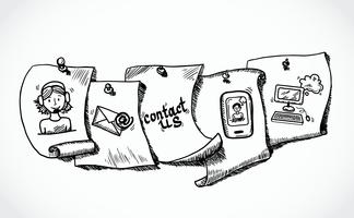 Contactez-nous icones étiquettes papier esquisse