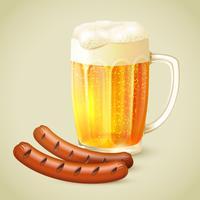 Cerveja clara e emblema de salsicha grelhada