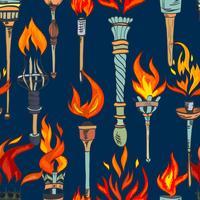 Torch sketch seamless pattern