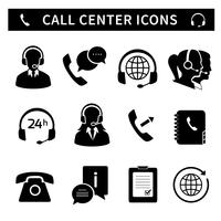 Call center service icons set