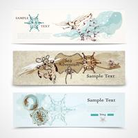 Sea horizontal nautical design banners set
