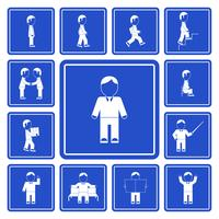 Business man activities icons set