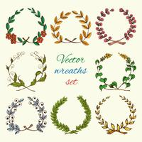 Hand drawn wreaths colored set