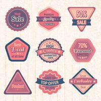 Set di etichette e distintivi di vendita d'epoca