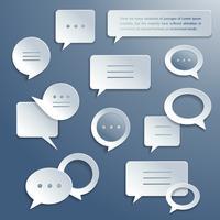 Insieme di bolle di discorso di carta astratta