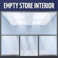 Empty store interior vector