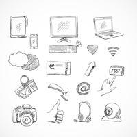 Doodle sociala medier ikoner uppsättning