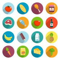 Supermarket Foods Flat Icons Set