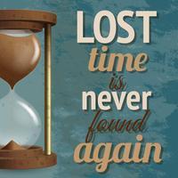 Cartel retro reloj de arena