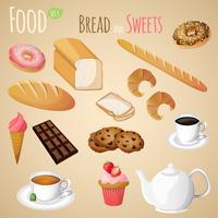 Conjunto de pan y dulces.
