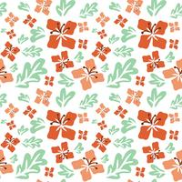 Tropical summer flowers seamless pattern vector