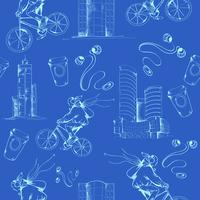 Blueprint Stadt nahtlose Muster