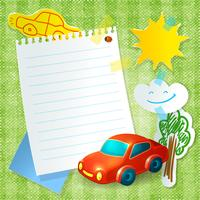 Toy car paper postcard template