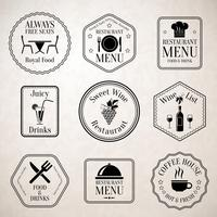Restaurant menu labels black