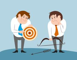 Business people with bow arrow and target vector