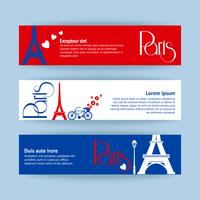 Collection of banners and ribbons with Paris landmarks vector