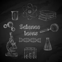 Wetenschap schoolbord pictogrammen