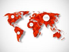 Mapa del mundo poligonal con elementos infográficos.