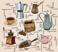 Conjunto de café vintage handdrawn