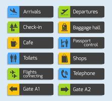Conjunto de letreros de diseño de navegación del aeropuerto