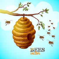 Honey bees and hive on tree branch background