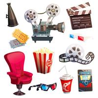 Set of Colored Isometric Cartoon Cinema Icons