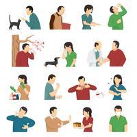 Síntomas de alergia causa conjunto de iconos planos