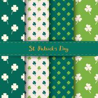 Set of St. Patrick's Day Seamless Patterns with Clover and shamrock in Green and White color.