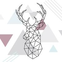 Geometric reindeer illustration. low poly line art. Wild deer. Scandinavian style.