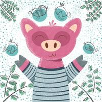 Cute winter pig - children illustration.