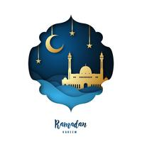 Ramadan Kareem illustration with arabic Gold Origami Mosque, Crescent Moon and Stars.
