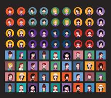 Avatares de pessoas com fundos coloridos