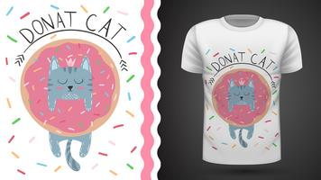 Cat with donut - idea for print t-shirt. vector