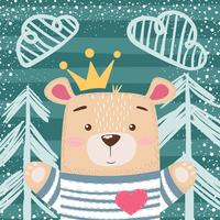 Cute princess teddy bear illustration.