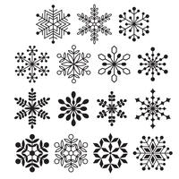 black silhouette snowflakes vector
