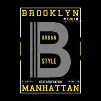Diseño de tipografía de brooklyn para impresión de camiseta otros usos