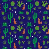 coyote and cactus pattern