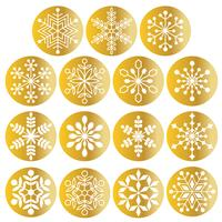 white snowflakes on metallic gold circles