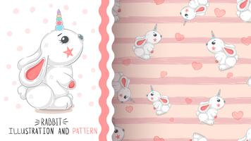 Rabbit with heart - seamless pattern