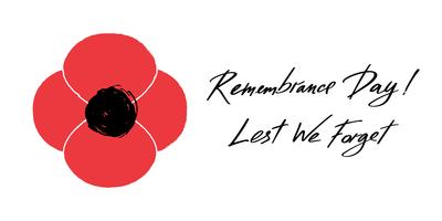 Anzac Day vector banner. Red Poppy flower illustration and lettering - Remembrance Day and Lest We forget.